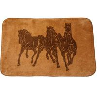 Three Horses Bathroom Rug -Tan