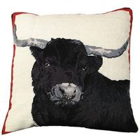 "Black Steer Needlepoint Pillow 20"" x 20"""