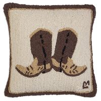 Cowboy Boots Hooked Wool Pillow