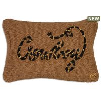 Cowboy Hooked Wool Pillow