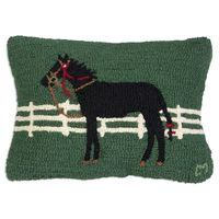 Horse Hooked 100% Wool Pillow
