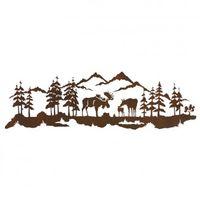 Bull Moose and Family Scene Metal Wall Art