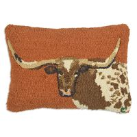 Longhorn Steer Hooked Wool Pillow