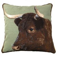 "Milking Devon Cow Needlepoint Pillow 20"" x 20"""