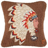 Native American Hooked Wool Pillow
