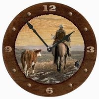 Quittin' Time - Cowboy Round Clock