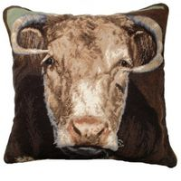 "Ralph the Bull Needlepoint Pillow 20"" x 20"""