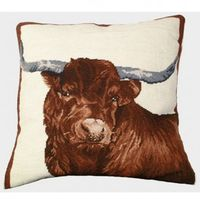 "Red Steer Needlepoint Pillow 20"" x 20"""