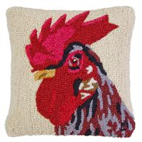 Rooster Hooked 100% Wool Pillow