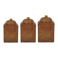 Three- Piece Square Canister Set -Mustard