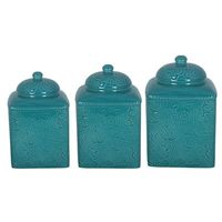 Three- Piece Square Canister Set -Turquoise