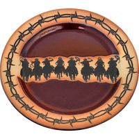 Barbed Wire and Cowboy Roundup Large Round Platter