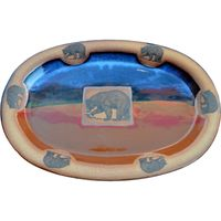 Fishing Bear Large Oval Platter