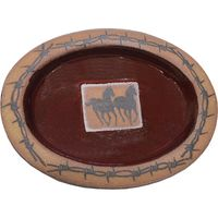 Barbed Wire Double Running Horse Small Oval Platter