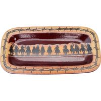 Cowboy Roundup and Barbed Wire Slim Rectangular Platter