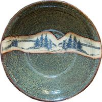 Large Mountain Scene Serving Bowl