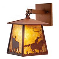 """7.5""""W Cowboy & Steer Hanging Wall Sconce"""
