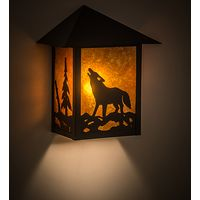 "9""W Seneca Northwoods Wolf on the Loose Wall Sconce"