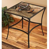 Autumn Glow - PheasantsMetal & Glass Accent Table