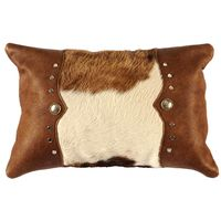 Brown and White Hair on Hide Accent Pillow