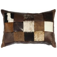 Brown Hair on Hide Leather Accent Pillow