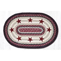 Burgundy Stars Oval Patch Rug