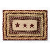 Burgundy Stars Print Patch Rug