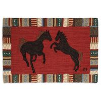 Cinnamon Horses 2' x 3' Hooked Wool Rug