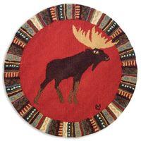 """Cinnamon Moose Round 36"""" Hooked Wool Rug"""