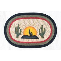 Coyote Silhouette Oval Patch Rug