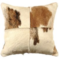 Four sectioned Brown and White Hair on Hide Pillow