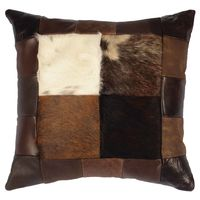 Hair on Hide Four Square Leather Accent Pillow
