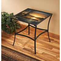 Morning Glow Glass-Top Accent Table