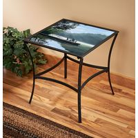 Place to Ponder Metal Glass Table