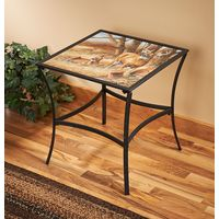 Rustic Retreat Metal Glass Table