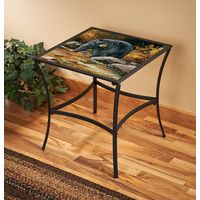Streamside Black Bear Metal Glass Table