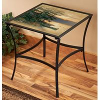 Summer Sunrise Metal & Glass Accent Table