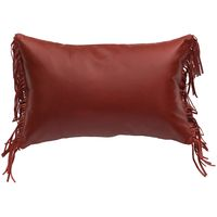 Dark Red leather Pillow with Leather Fringe