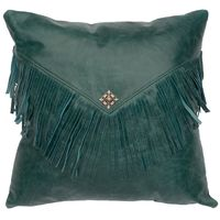 Peacock Leather Pillow and Fringe with Silver Square Concho