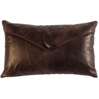 Timber Leather Pillow with Horn Toggle Button