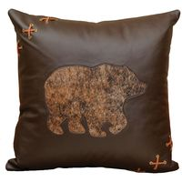 Mesa Espresso Leather Pillow with Bear Cut Out