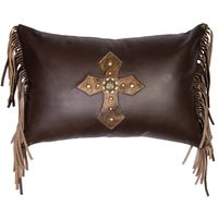Mesa Espresso Leather Pillow and Fringe
