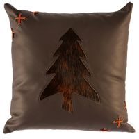Mesa Espresso Leather Pillow Dark Brindled Hair on Hide