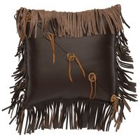 Mesa Espresso Leather Pillow with Fringe and Buttons