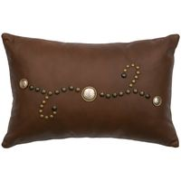 Harness Leather Pillow with Conchos and Studs