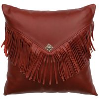 Dark Red Leather Pillow with Flap