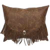 Butte Leather Pillow with Fringe