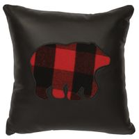 Black Leather Pillow with Buffalo Plaid bear cut out