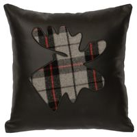 Black Leather Pillow with Ponderosa Plaid Moose Cut Out