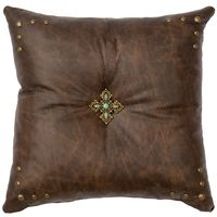 Texas Leather Pillow with Brass Studs